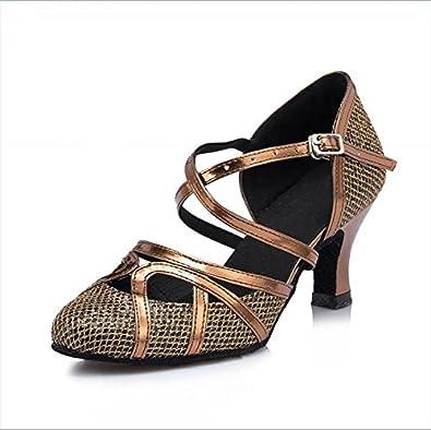 YFF Geschenk Frauen Tanzen Schuhe Ballroom Latin Dance Tango Tanzschuhe 6CM,Brown,35 LEIT