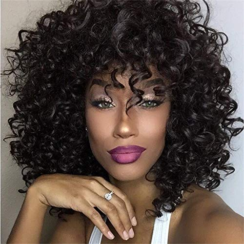 AISI BEAUTY Short Kinky Curly Wig with Bangs Synthetic Curly Wigs for Black Women Afro Full Wig Jet Black Heat Resistant Hair 14 290g