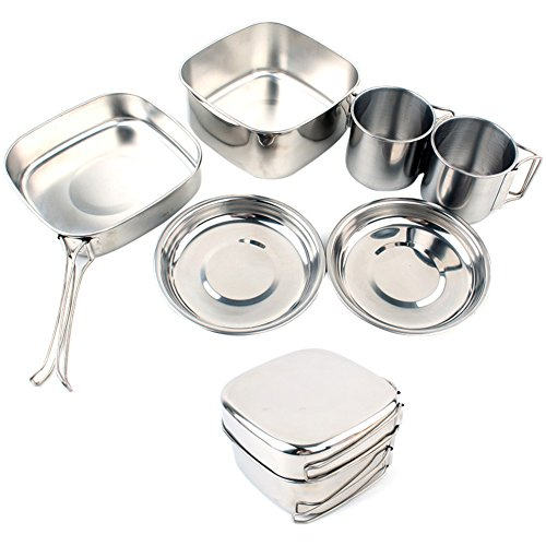 Aneil Outdoor Portable Camping Cookware Set 6 Pcs Stainless Steel Include Large-sized pot, frying pan, 2 dinner plates, 2 water bottles and lid by Aneil