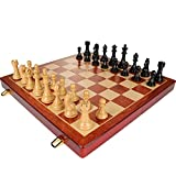 Chess Set with Folding Wooden Chess Board , High-grade ABS steel chess pieces - 21 Inch Set