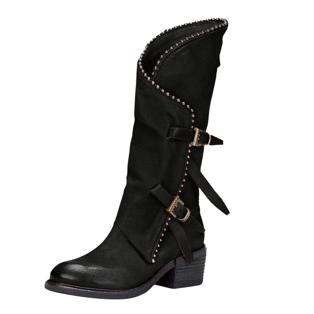 Leaf2you Women's Knee High Riding Boots Cross Rivets Studded Shoes Metal Buckle Low Heels Cowboy Bootie by Leaf2you
