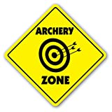 ARCHERY ZONE Sign Decal Sticker caution xing bow arrow target shooting hunting hunter quiver