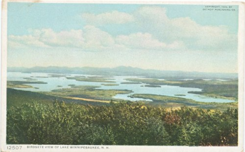 Historic Pictoric Postcard Print | Birds-eye View, Lake Winnipesaukee, N. H, 1908 | Vintage Fine Art