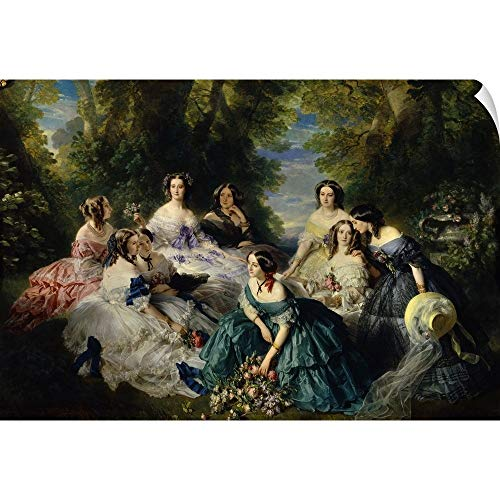 """CANVAS ON DEMAND Franz Xavier Winterhalter Wall Peel Wall Art Print Entitled Empress Eugenie Surrounded by Ladies-in-Waiting, 1855 18""""x12"""""""