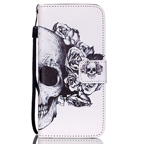 iPhone 6S Plus Case,Love Sound [Skull] [Wallet Function] [Stand Feature] Magnetic Snap Case Wallet Premium Wallet Case Flip Case Cover for iPhone 6S Plus/iPhone 6 Plus with Hand Strap