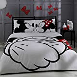 LaModaHome 4 Pcs Luxury Soft Colored Licensed Double Quilt Cover Set / 100% Cotton Mick Mouse Cartoon Love Heart Child Ribbon Mickey & Minnie Adore White Black Red