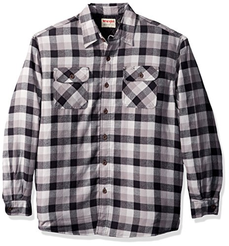 - Wrangler Authentics Men's Long Sleeve Sherpa Lined Flannel Shirt Jacket, Gray tri Color Buffalo, M