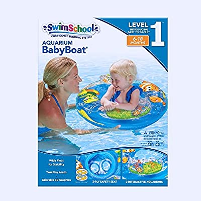 SwimSchool Aquarium Baby Pool Float, Baby Boat with Activity Centers, Safety Seat, Inflatable Pool Float, 6 to 18 Months, Blue, SSB3413: Toys & Games