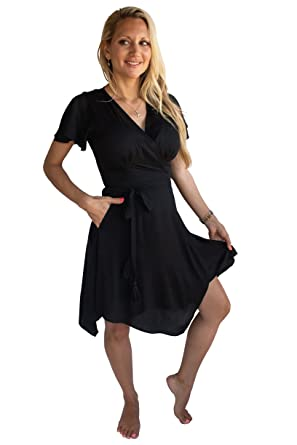 14e0baa079f6 PIYOGA Women s Travel Midi Dress - Flowy Bohemian Short Sleeve High-Low  Wrap (Black