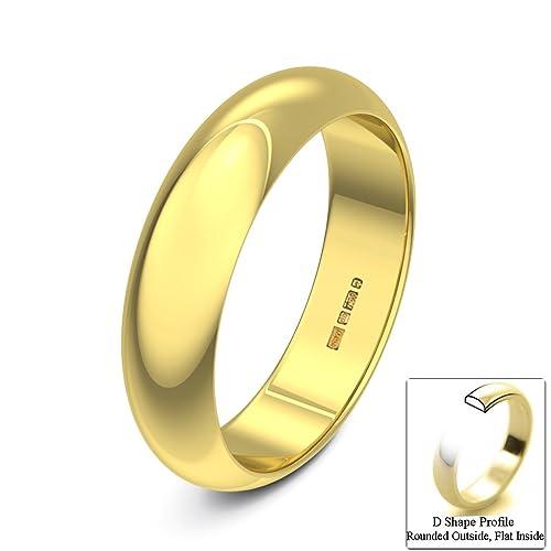 Xzara – New 18 ct Oro Amarillo Sólido 5 mm Mujer/Hombre Reino Unido Hallmarked