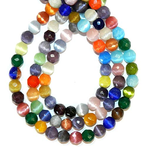Assorted Color 8mm Faceted Round Cats Eye Fiber Optic Glass Beads ()