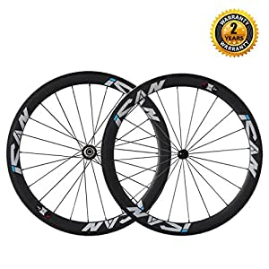 ICAN 50mm Carbon Road Bike 700C Wheel Set Clincher Sapim CX-Ray Spokes Shimano or Sram 10/11 Speed Only 1460g ( Upgraded Version Wheelset )