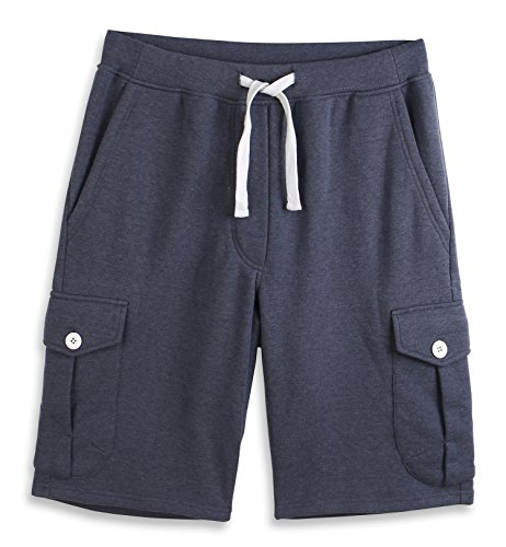 - HARBETH Men's Classic-Fit 5-Pockets Cargo Short Cotton Elastic Fleece Gym Shorts Cadet Blue L