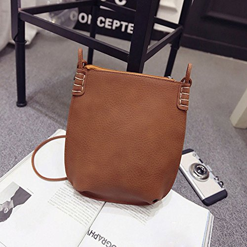 For Zipper Girl Leather Bag Women Bag Retro Women Bag Brown NXDA Handbag Gray Shoulder For Messenger Crossbody tPpAxqw