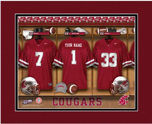 NCAA Locker Room Print Washington State Personalized Framed