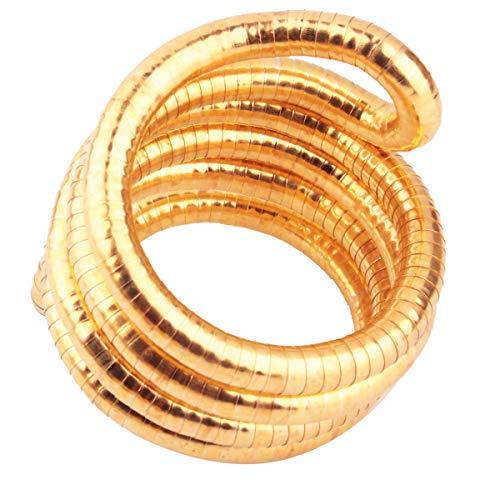 GVUSMIL Bendable Snake Twistable Necklace Bracelet Scarf Holder (Gold, 8mm) (Snake Brooch)