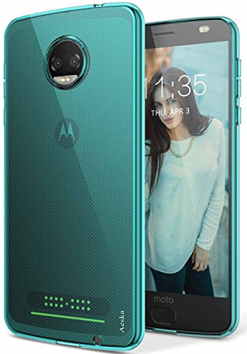 Aeska Moto Z2 Force Case, Ultra [Slim Thin] Flexible TPU Soft Skin Silicone Protective Case Cover for Motorola Moto Z2 Force Edition (Mint)