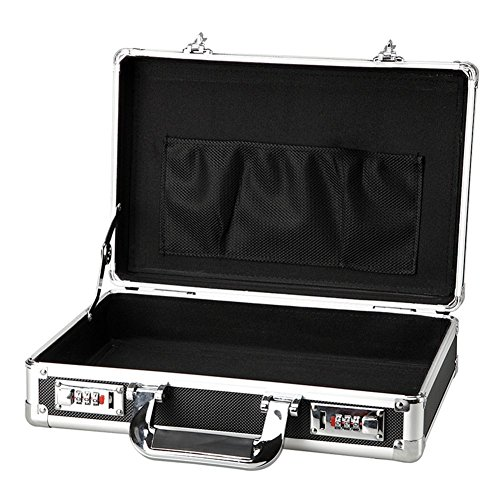 Small Aluminum Hard Briefcases for Men Black Metal Frame Carrying Flight Case with Combination Locks ()