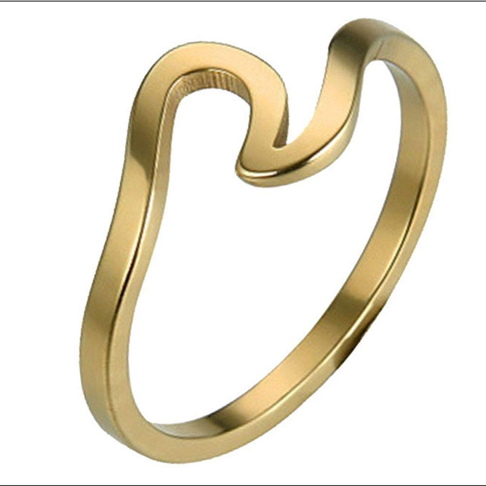 Uscharm Wave Ring Wedding Ring For Women Jewelry Accessories Rose Gold Gold Engagement Rings (GD10)
