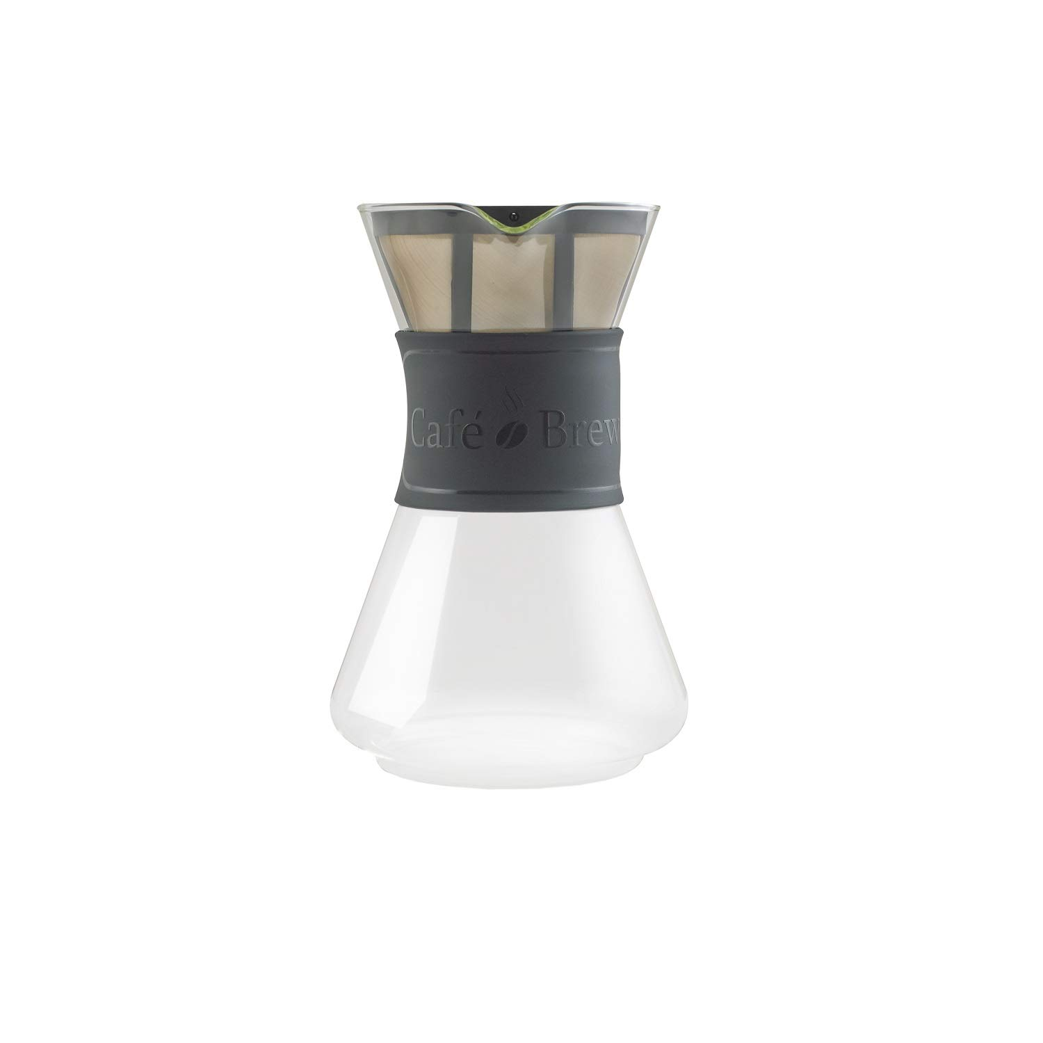 Cafe Brew PO108 BLACK 8 Cup Pour-Over Coffeemaker with Permanent Filter, 40 oz, Black by CAFÉ BREW COLLECTION