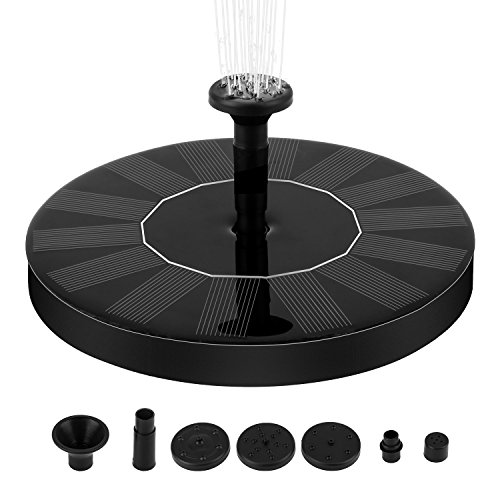 Solar Fountain Pump, 1.4W Free Standing Water Fountain Pump Kit with 4 Different Spray Pattern Heads for Bird Bath, Fish Tank, Small Pond and (Solar Powered Pond Fountain)