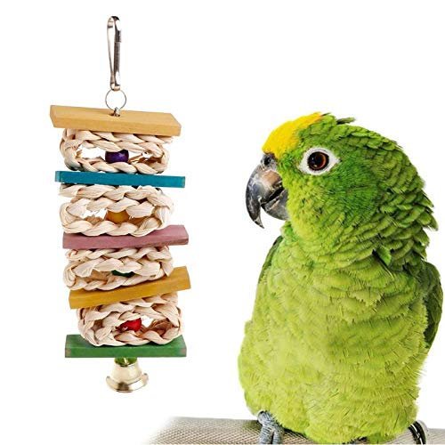 (Parrot Stand - Parrot Strand Colorful Wood Block Stand Perch Toys Bell Hanging Cage Birds Parakeet Toy Play Funny - Real Swings Balsa Popsicle Macaws Look Toys Plastic Bulk Music Pinata African)