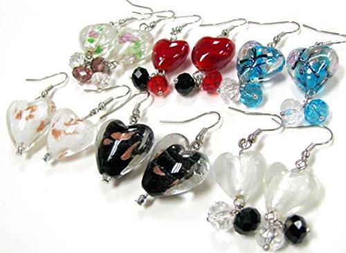 Linpeng Lampwork Heart Beads Drop Woman's Earrings, Pink Red Blue White Black Clear