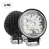 Nilight, 2 Piezas de Barras de Luces LED Redondas de 27W para manejo, Impermeables para Jeep, Faros antiniebla para Autos ATV SUV Jeep Boat 4WD ATV, 2 años de garantía