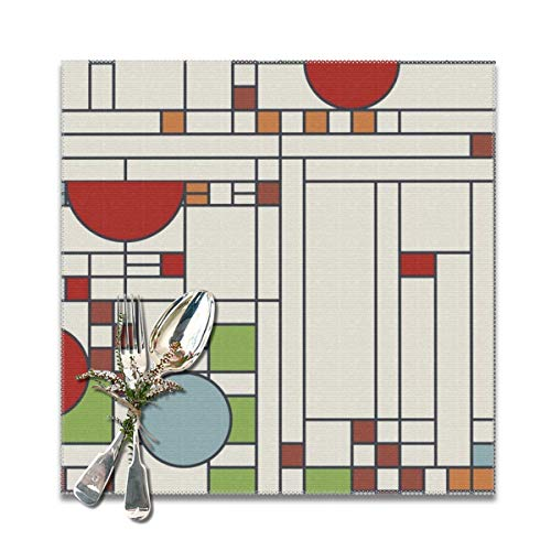 Vase Frank Wright Lloyd - Yuteea Frank Lloyd Wright Pattern Table Placemats for Dining Table,Washable Table mats Heat-Resistant(12x12 inch) Set of 6