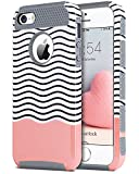 5s cute protective cases - iPhone SE Case, 5S iPhone Cases, iPhone 5 Case, BENTOBEN Slim Shockproof Flexible TPU 2 in 1 Hybrid Hard Plastic Stripes Design Dual Layer Protective iPhone 5 5S SE Cases for Girl, Red/Gray