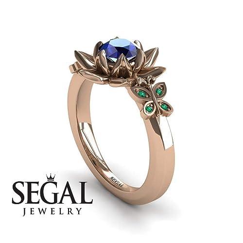 6f7211e42dc2b Amazon.com: Unique Lotus Rose Gold Engagement Rings 14K Butterfly ...