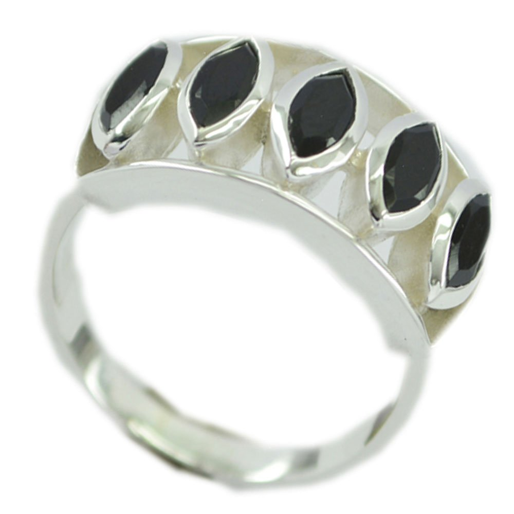 Gemsonclick Natural Black Onyx Ring Vintage Silver Marquise Bezel Setting Handmade Size 5,6,7,8,9,10,11