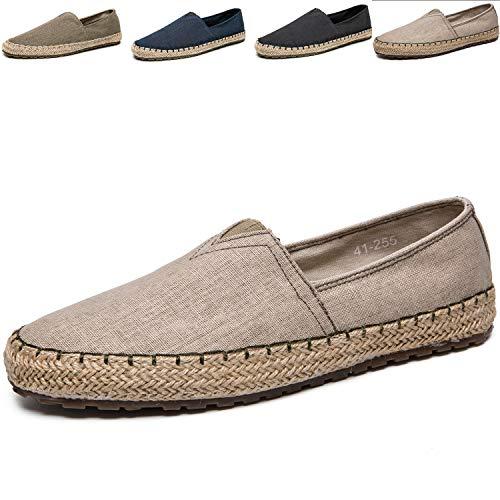 Men's Casual Cloth Shoes Canvas Slip-on Loafers Espadrille Leisure Dress Moccasins Shoes Light Khaki 9 M US