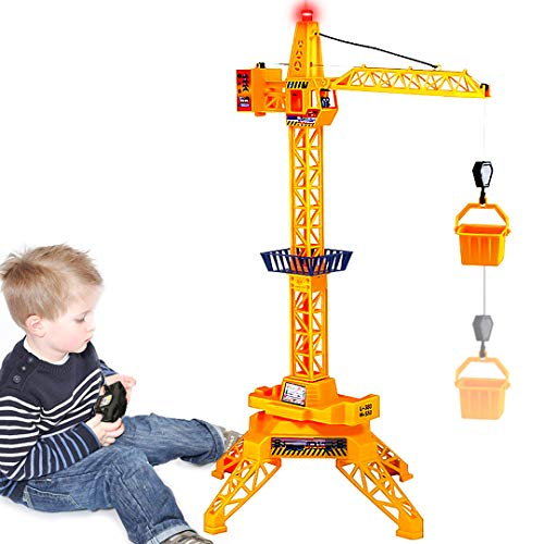 Ziwing Large Wired Remote Control Tower Crane Construction Playset Toy for Toddlers Kids Boys Girls Birthday Crane Toy with 360 Degree Rotation & Tower Light & Lift Model Functions