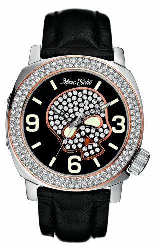 Marc Ecko Men's E13524G1 Black Leather Skull Face Watch