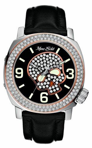Marc Ecko Men's E13524G1 Black Leather Skull Face Watch