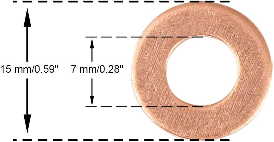 X AUTOHAUX Arandela de Cobre Anillo de Junta de Sellado Plana para Coche 7x15x1,5mm 20Pcs