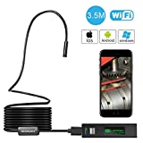 Wireless Endoscope, GOODAN Updated 1200P HD Wireless Borescope Wifi Inspection Camera With 2.0 Megapixels For Iphone and Android Smartphone, Table, Ipad, PC - Black (11.5FT)