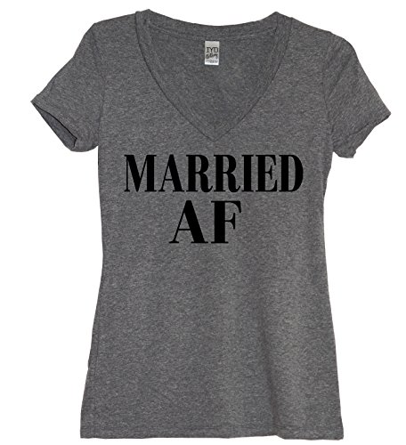 Married AF Womens Just Married Couples Honeymoon V Neck Shirt