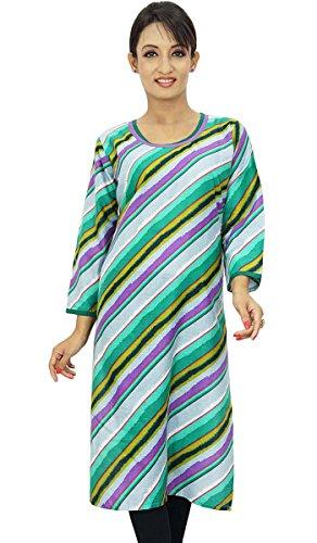 Diseñador indio Bollywood mujeres del desgaste étnico casual vestido superior de la túnica Multicolor-1