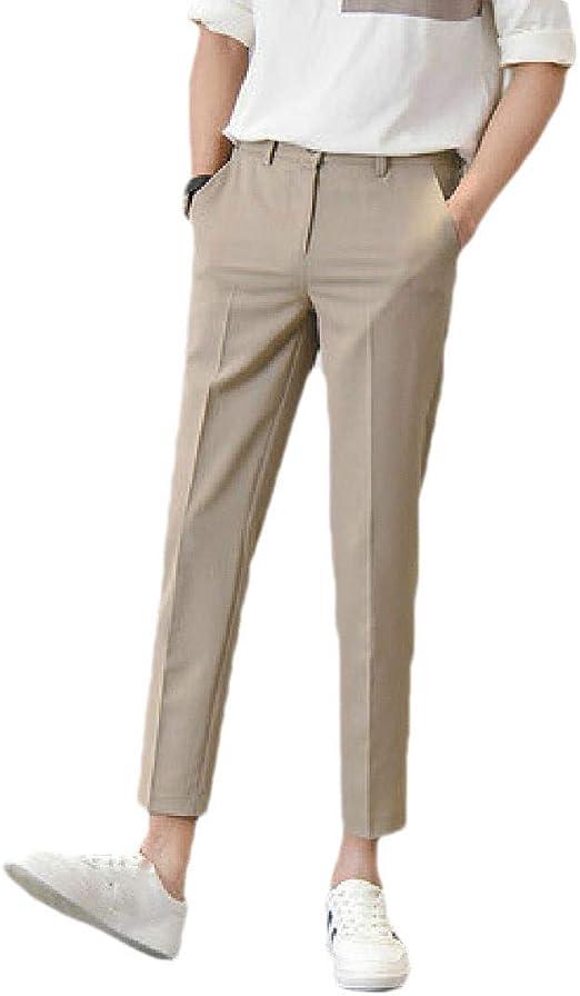 Romancly メンズストレートレッグノンアイアンポケットカジュアルルーズビジネスドレスパンツ