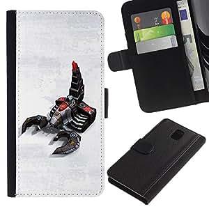 A-type (Escorpión Robot) Colorida Impresión Funda Cuero Monedero Caja Bolsa Cubierta Caja Piel Card Slots Para Samsung Galaxy Note 3 III