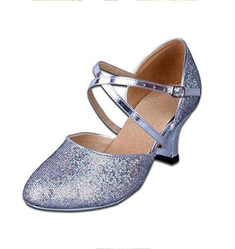 Shoes Dance Ballroom Silver Women's Latin Sequins Tango Strap Ankle Samba Doris Salsa Buckle P7cg4ZZ