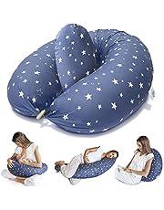 Bamibi® Almohada Embarazada y Cojín Lactancia Bebé Incluye Cojín Interno Multifuncional, Cama Nido Bebé. Fundas de Algodón, Relleno de Poliéster. Protector Cuna, Lavable