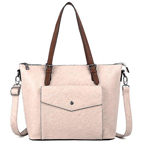 UTO Women Tote Bag PU Washed Leather Front Pocket Ladies Purse Shoulder Bag Black Beige