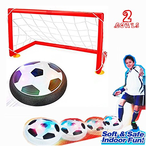 BAIVYLE Hover Soccer Ball - Soccer Goal Set Hover Football with 2 Gates for Children Gifts Sports Air Ball Indoor Outdoor Game with LED Lights-Boys/Girls Age of 2, 3, 4-16 Year Old - Hockey Indoor Games