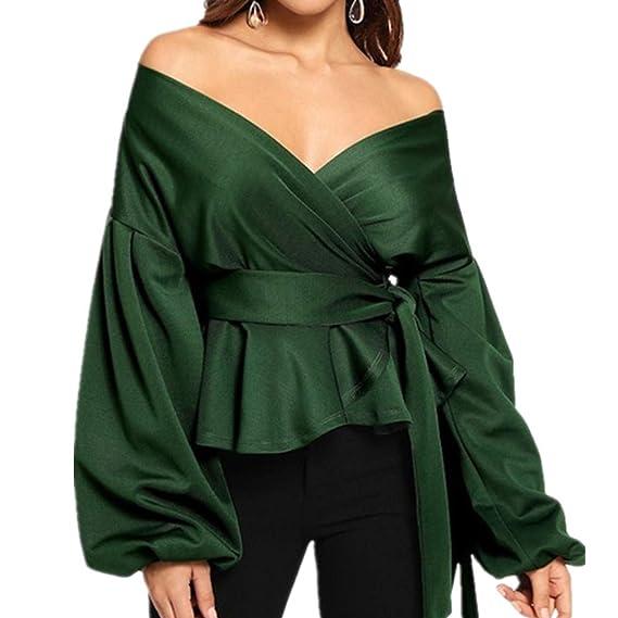 Boutique sale Blusas para Mujer Color Sólido Cuello En V Atractivo ...