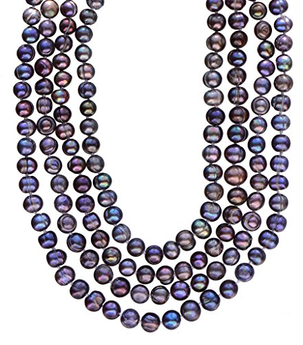 7-8mm Off Round Cultured Freshwater Pearl Necklace Endless Strand Peacock Blue 80""
