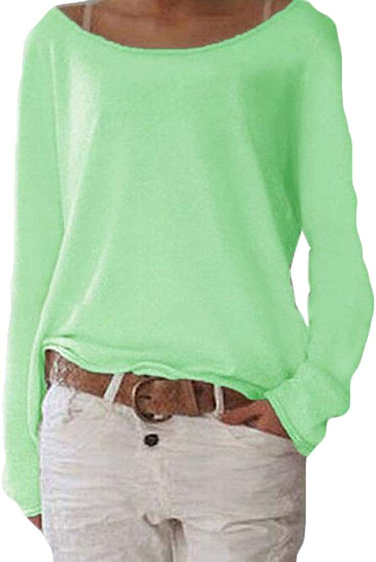 Zantt Womens Fashion Crew Neck Long Sleeve Top Baggy Plain T-Shirts Top Blouse