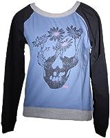 Vans Women's Flowerhead Pullover Crew Sweatshirt-Black/Blue